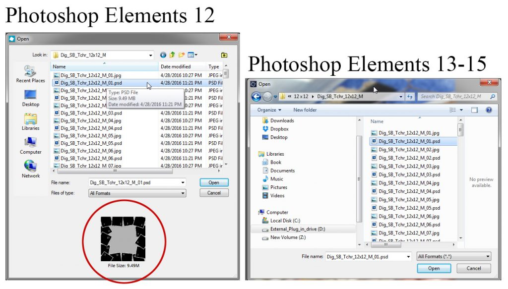 Photoshop Elements 13 14 15 Missing PSD Preview