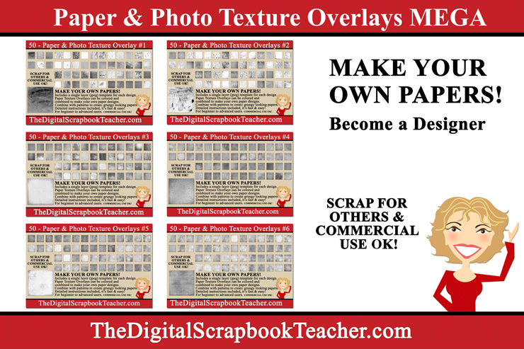 Paper & Photo Texture Overlays Mega - All 6 Sets on 1 DVD
