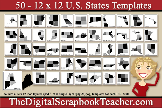 State Templates | 12 X 12 Inch State Scrapbook Page Templates 50 Per Set On A Cd