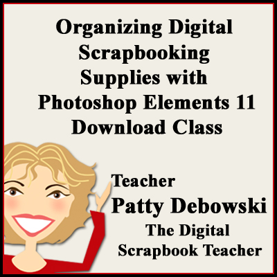 Organizing digital scrapbooking supplies class