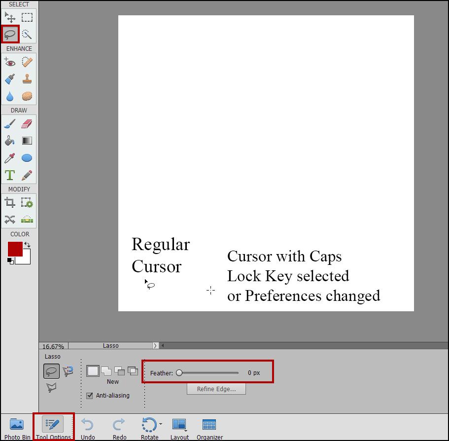Photoshop Elements Lasso Tool Problems