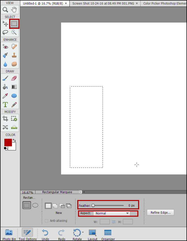 Photoshop Elements Marquee Tool Problems