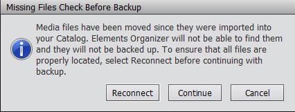 Photoshop Elements Organizer will not backup
