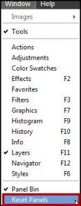 Photoshop Elements Window Menu Reset Panels