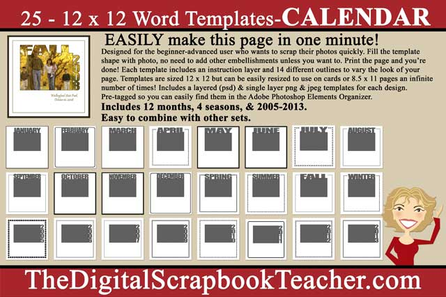 12 X 12 Word Templates Calendar Download Only The Digital