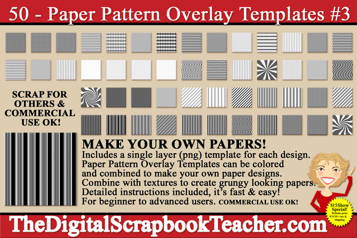 Paper Pattern Overlays 3 Cd The Digital Scrapbook Teacher