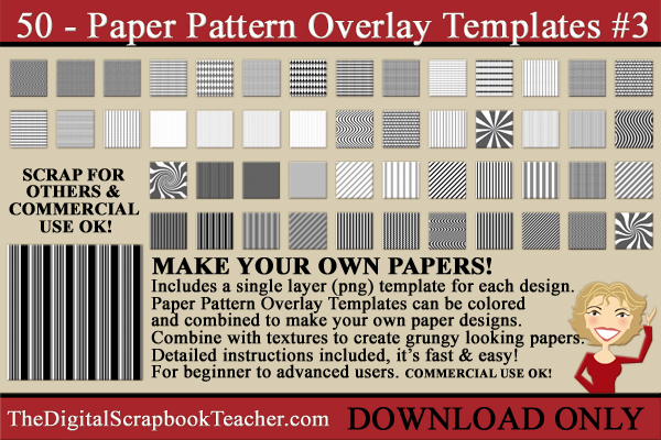 Paper Pattern Overlays #3 DOWNLOAD Only